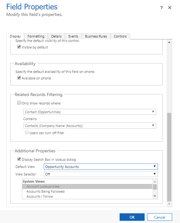 Customize Lookup Views in Microsoft Dynamics 365/CRM