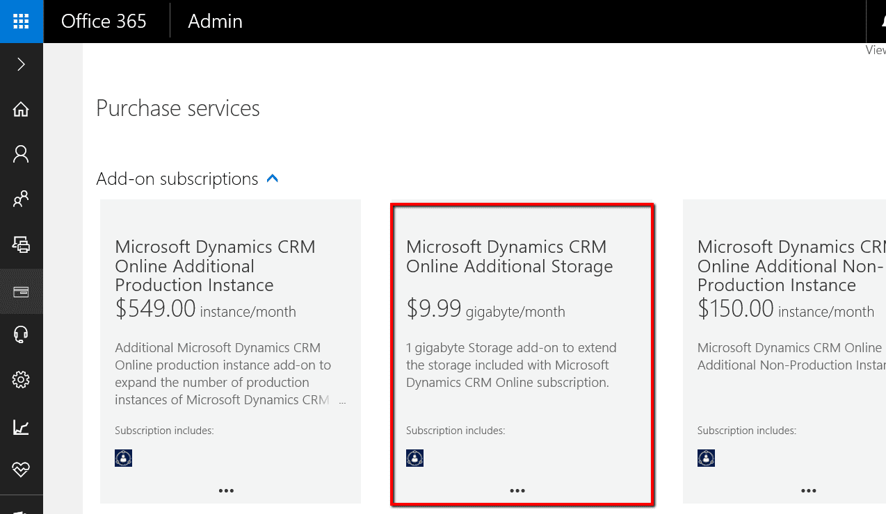 Add Additional Storage for Dynamics CRM Online - Ledgeview