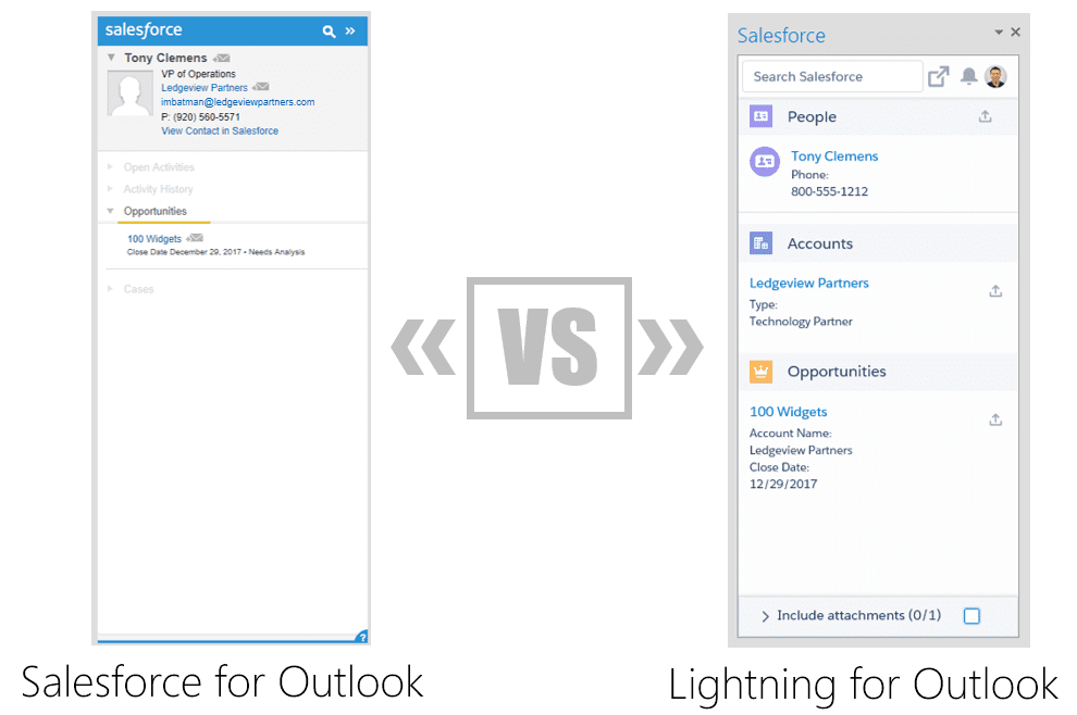 Salesforce Outlook vs. Lightning